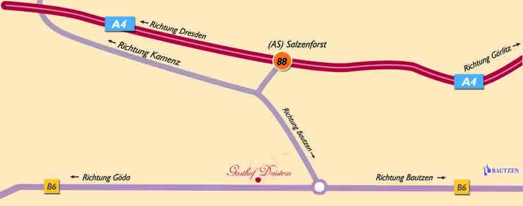 Gasthof Dreistern Anfahrtsskizze